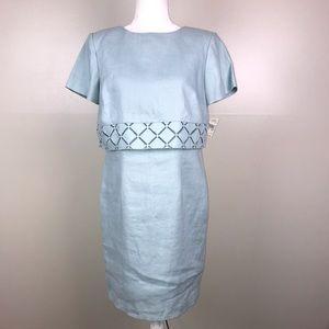 TALBOTS Petite Linen Dress Aqua Short Sleeve Blue